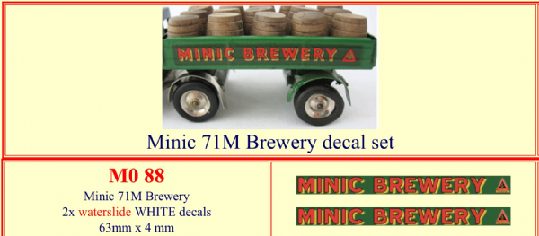 "M088 Tri-ang ( Triang ) Minic 71M "" MINIC BREWERY "" decal set"